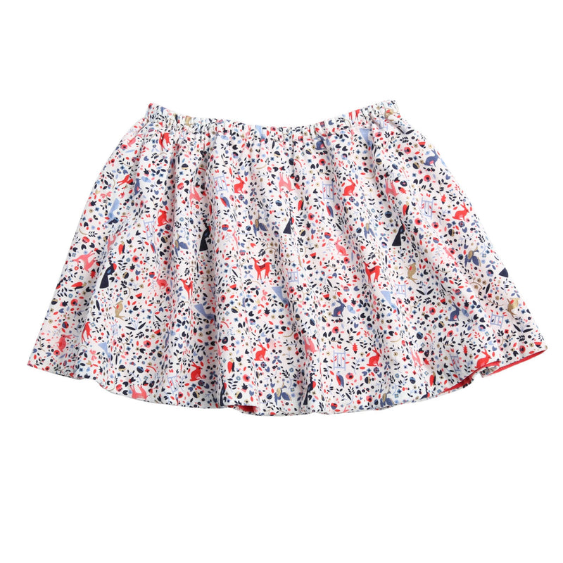 'Ferrah' Reversible Skirt in Ivory & Red