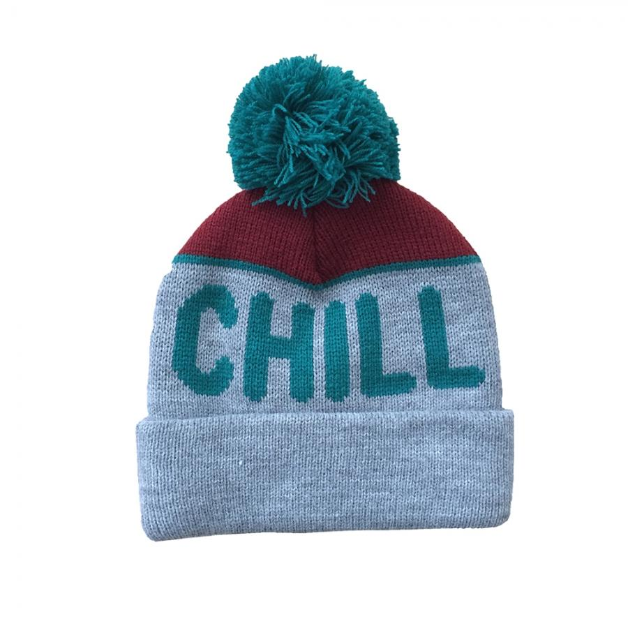 """Chill"" Pom Knit Beanie in Blue"
