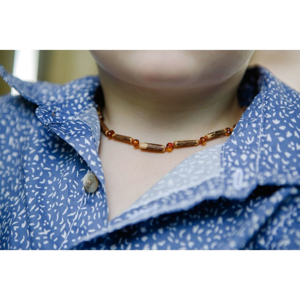 Hazelwood & Polished Cognac Amber Necklace, 28cm