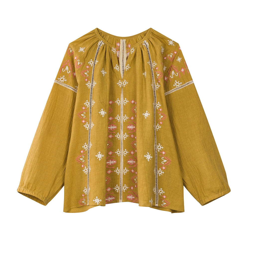 'Cadix' Long Sleeve Blouse in Mustard