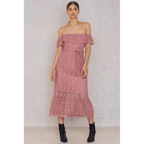 Lace Off Shoulder Dress In Dusty Dark Pink