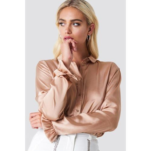 Satin Long Sleeve Shirt In Beige