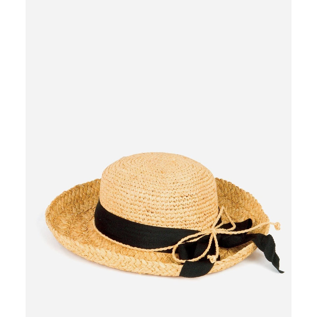 Woven Raffia Hat with Black Ribbon