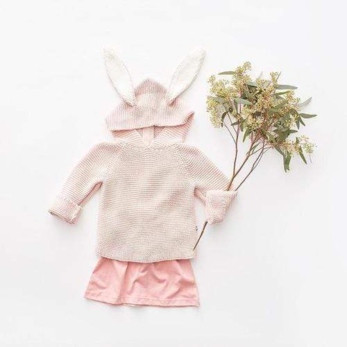 'Bunny' Knit Pullover Hoodie in Light Pink