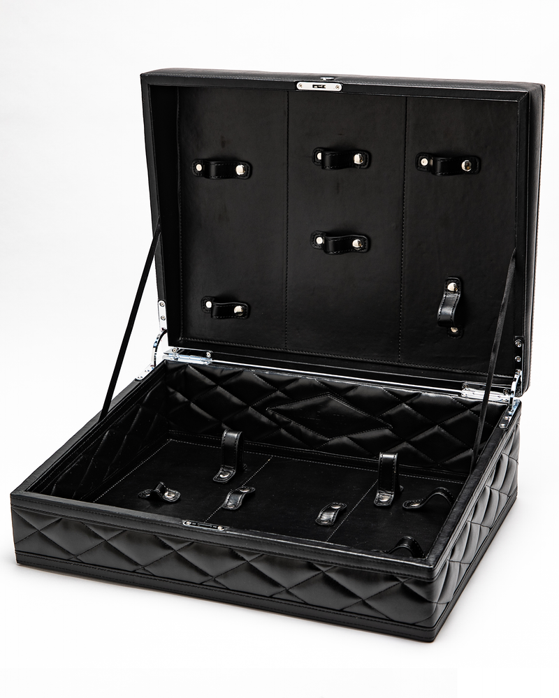 sex toy kit, sex toy collection, sex storage, sex toy set, sex trunk, novelty toys for couples, sex toys for him and her, best sex toy kit 2020, BDSM, luxury sex toy storage, sophisticated storage for sex toys, leather sex kit storage