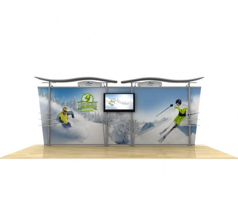 20ft Timberline™ Modular Display w/Wave Top & Tapered Fabric Sides