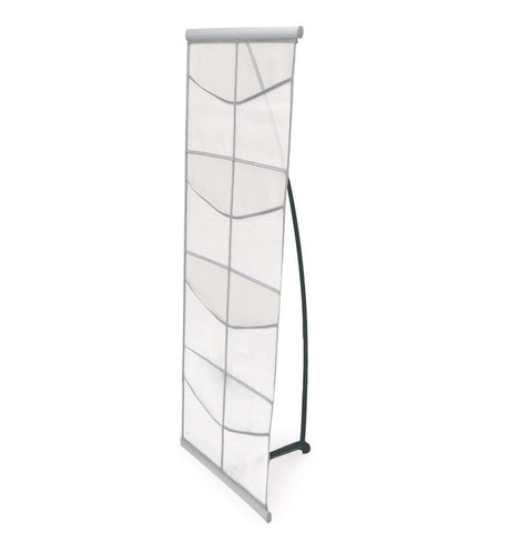 Silver Fabric Literature Rack Eight Pockets