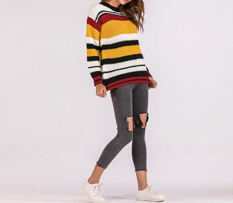 Colorful Knitted Sweater - stimur
