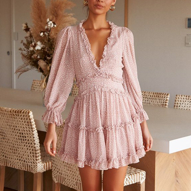 Bohemian Ruffle Chiffon Mini Dress