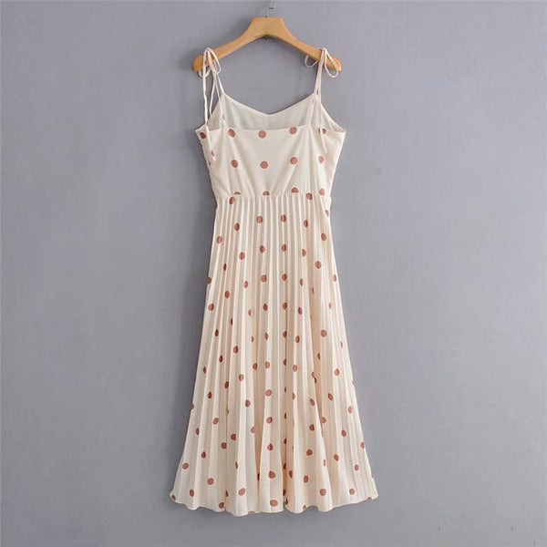 Polka Dot Sleeveless Mid Dress
