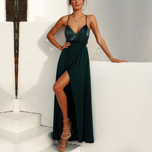 Green Glitter Backless Maxi Dress
