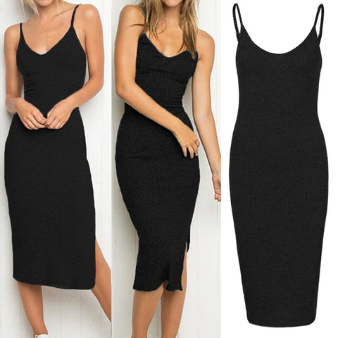 V Neck Backless Dress