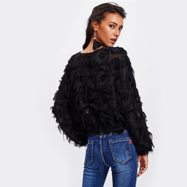 Fringe Patch Mesh Top Black Long Sleeve - stimur