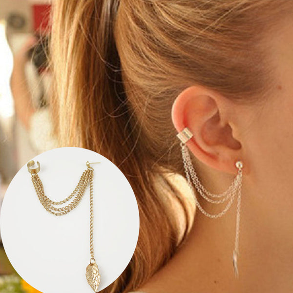Leaf shape Tassel Earrings - stimur