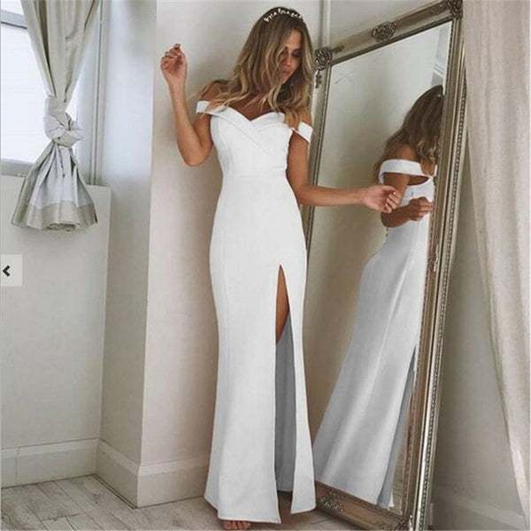 Off Shoulder Slash Neck Maxi Dress