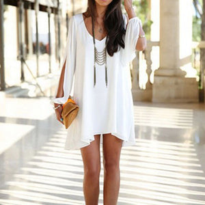 Casual V neck Mini Dress - stimur