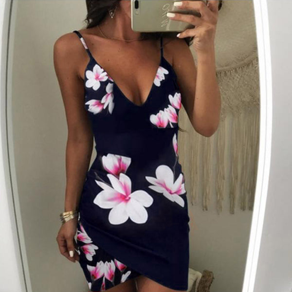 V-Neck Flowers Sleeveless Mini Dress - stimur