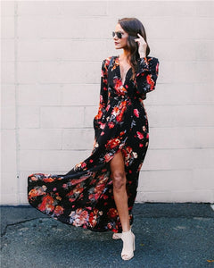 Floral Print V-Neck Maxi Dress - stimur