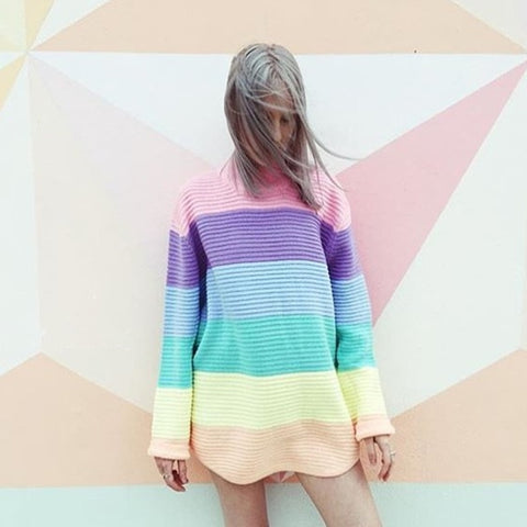 Color Striped Sweater - stimur