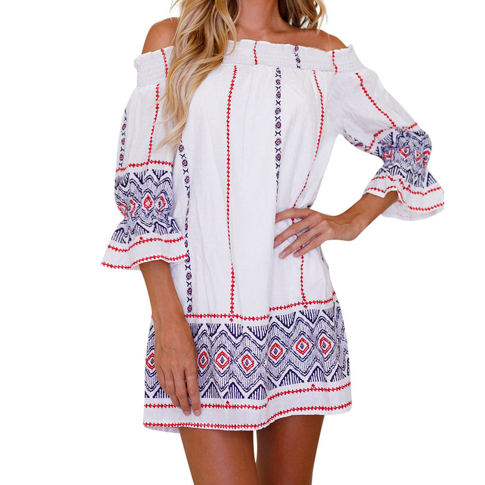 Womens Off Shoulder Geometric Printing Dress - stimur