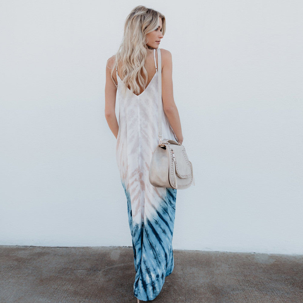 Striped Long Boho Dress Beach - stimur