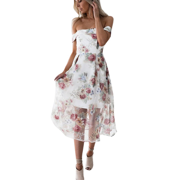 Off Shoulder Floral Printed Long Maxi Dress - stimur