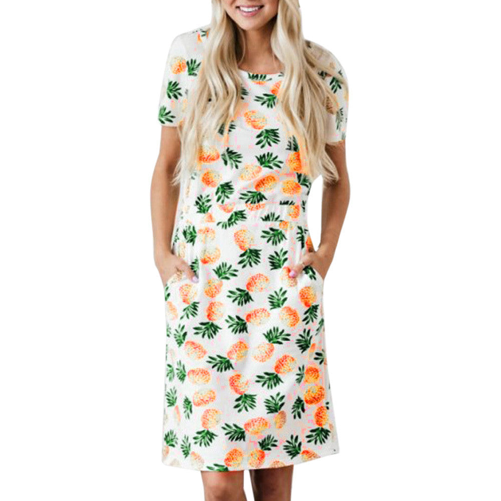 Casual Pineapple Print Short Sleeve Dress - stimur