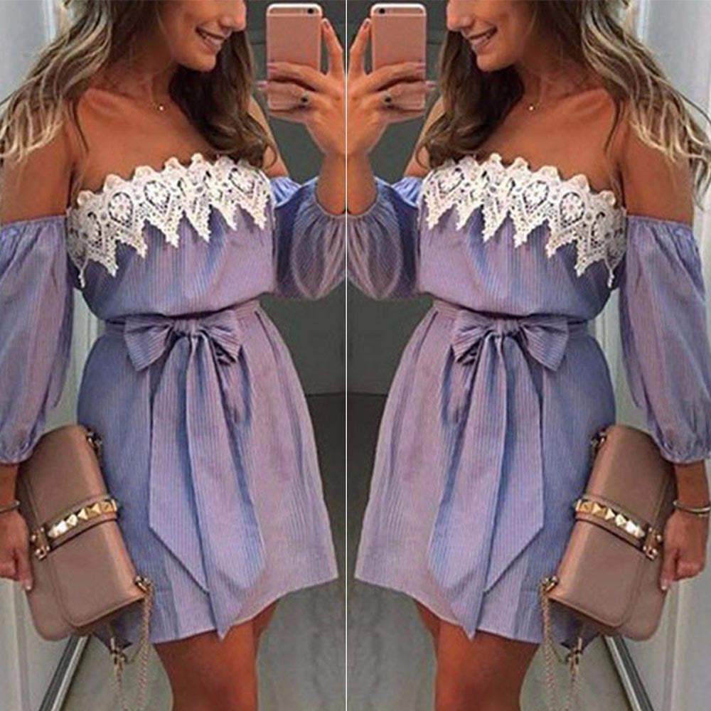 Off Shoulder Lace Dress Casual Sleeveless Party Short Mini Dress - stimur