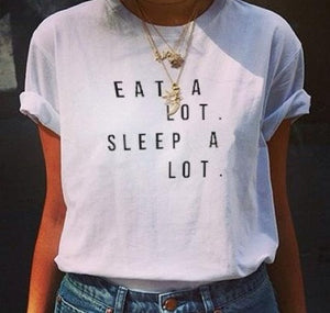 Eat A Lot Sleep A Lot T Shirt - stimur