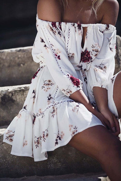 Off Shoulder Floral Print Mini Dress - stimur