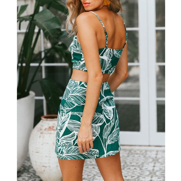 Floral Backless Leaf Print Bodycon Mini Dress - stimur