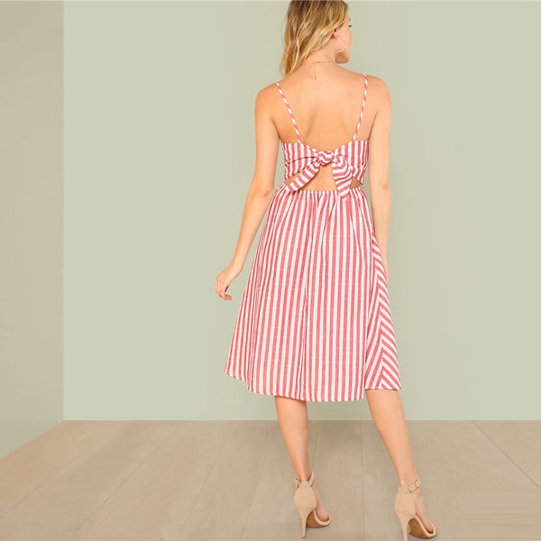 Backless Striped V Neck Dress