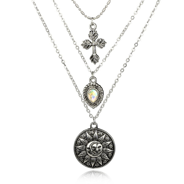 docona Vintage Silver Color Cross Sun Moon Pendant Necklace for Women Bohemian Metal Rhinestone Charms Necklaces Collar 4986 - stimur