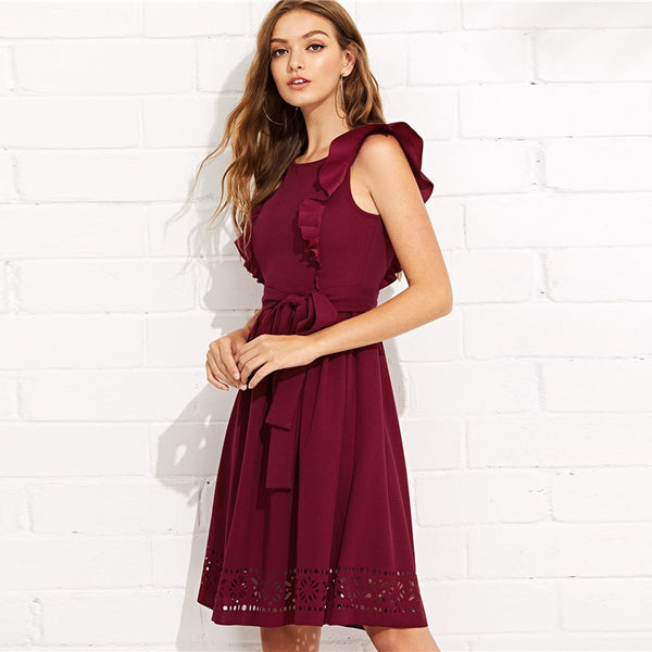 Elegant Ruffle Shoulder Dress