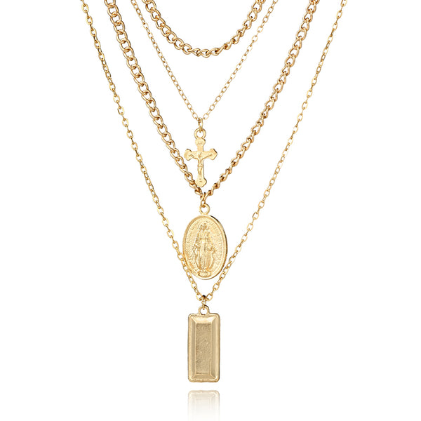 Gold Cross Suqare Layered Necklace - stimur