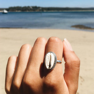 Bohemian Antique Silver Shell Ring - stimur