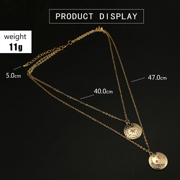 Gold Moon Star Crystal Pendant Necklace for Women - stimur