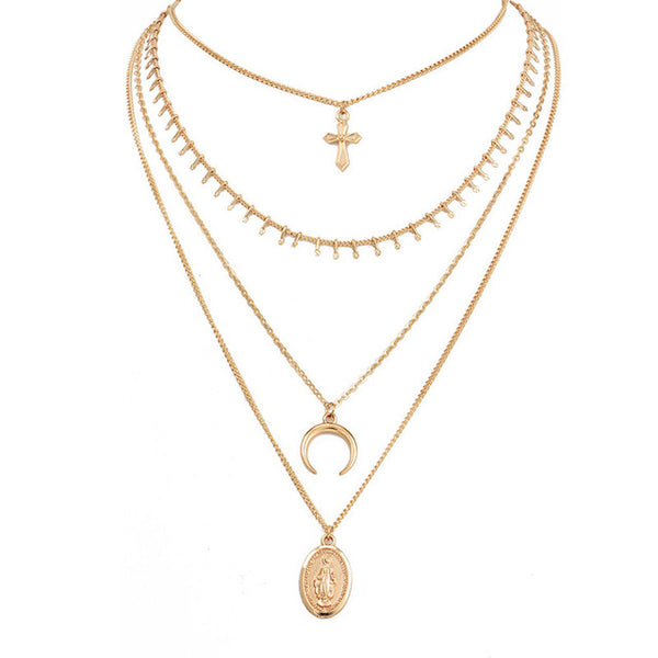 Bohemian Cross Horn Pendant Necklace - stimur