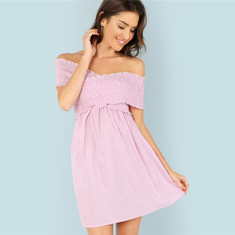 Off Shoulder Backless Pink  Dress