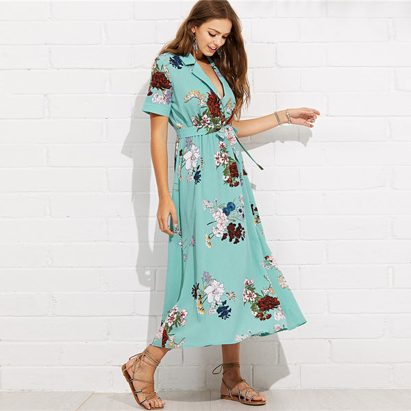 Boho Short Sleeve Maxi Dress