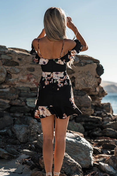 Sleeveless V-Neck Spaghetti Strap Floral Mini Dress