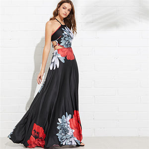 Backless Elegant Floral Dress - stimur