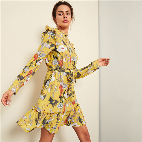 Yellow Floral Elegan Dress