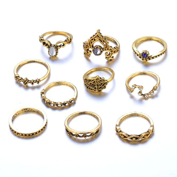 10 Pcs/Set Women Bohemian Rings - stimur