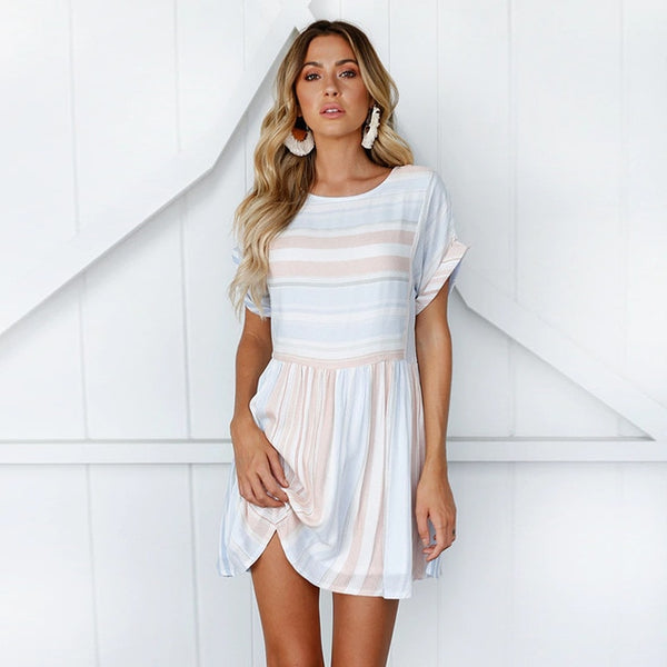 Striped O-Neck Mini Dress