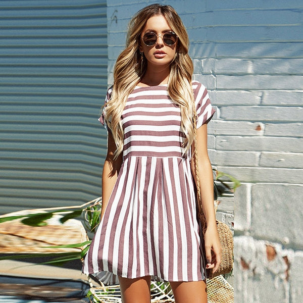 Striped Short Sleeve O-Neck Print Dress