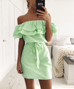 Off Shoulder Strapless Striped Ruffles Dress - stimur