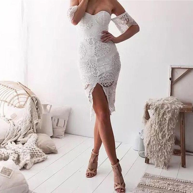 White Ladies Summer Lace Sleeveless Dress - stimur