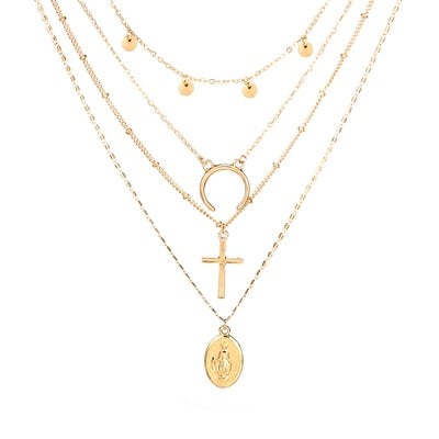 Gold Color Cross Horn  Pendant Necklace - stimur