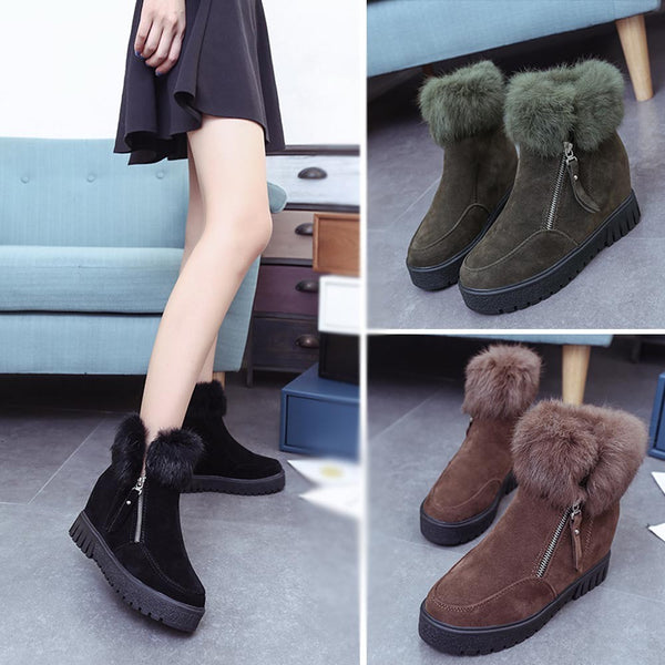 Fluffy Side Zipper Boots